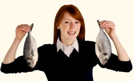 Inside Magic Image of Red Headed Girl with Two Real Fish
