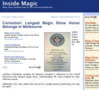 March 28th 2005 Inside Magic Article: Tim Ellis and Sue-Anne Webster Smash World Record for Longest Magic Show