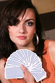 Inside Magic Image of Our Intern Missy Rochelle Holding an Original TV Magic Card Deck