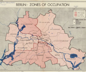 Berlin map with occupied zones in 1945