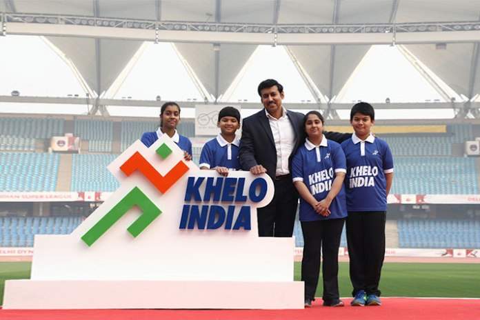 Sports Minister Rjyavardhan Singh Rathore with new Khelo India Logo - InsideSport