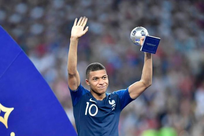 Kylian Mbappe after receiving The FIFA Best Young Player Award at the conclusion of FIFA World Cup 2018 - InsideSport