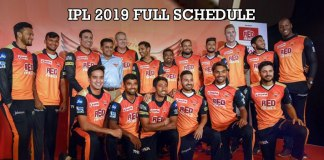 Indian Premier League,Sunrisers Hyderabad,Sunrisers Hyderabad full Schedule,IPL 2019 Schedule,IPL Schedule