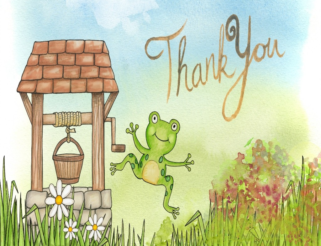 """A watercolor painting of a frog saying """"Thank You"""". There is a wooden well to the left with a wooden bucket dangling by light brown yarn. """"Thank You"""" in cursive is written in light brown in front of a blue sky. The green frog is at the center. It is mid-air with its arms open and a smile on its face. It is green and hovering over green grass and flowers than are white and yellow. On the right side in the back, there are red and green shrubs."""