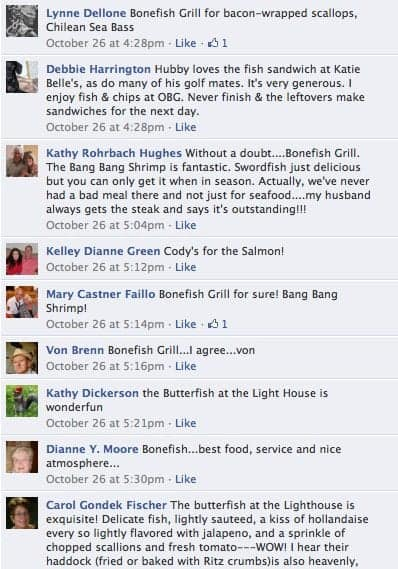 Facebook comments about where to get the best seafood in the Villages, FL