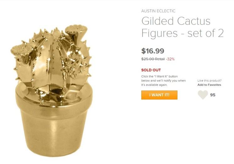 Gold Cactus Figures