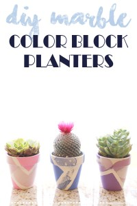 diy marble color block planters