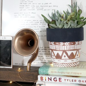 DIY Metallic Tribal Print Planter