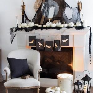 Classic Black Halloween Mantel