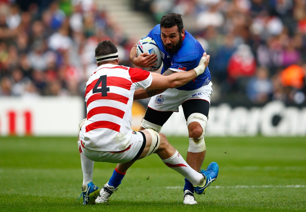 Kane Thompson was one of 13 players who represented Samoa at last year's Rugby World Cup, even though he was born in New Zealand - one of 39 from that country who did not represent the All Blacks ©Getty Images