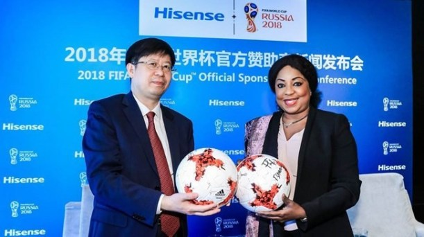 Hisense's President Liu Hongxin, left, with FIFA secretary general Fatma Samoura after the company were confirmed as an official sponsor for the 2018 World Cup in Russia ©FIFA
