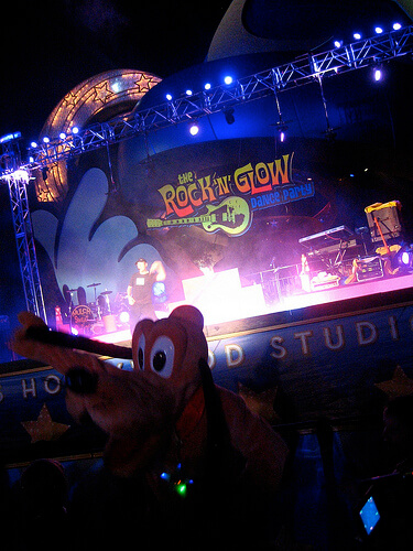 Pluto at the Rock n Glow dance party