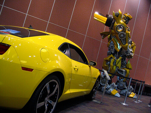 Transformers Bumblebee statue and 2010 Chevy Camaro