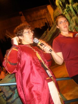 Harry Potter costumed fan asks a question