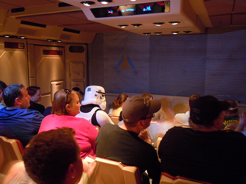 Stormtrooper joins guests for a final flight on Star Tours