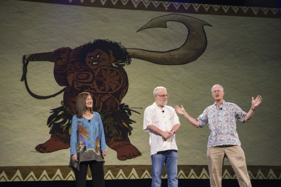 """""""Moana"""" producer Osnat Shurer, with directors Ron Clements and John Musker. Image Copyright Disney."""