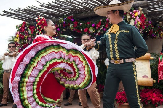 Featuring festive mariachi band music and dancing, the Mexico pavilion at Epcot brings the Fiesta de Navidad to life for the holidays.  Throughout the theme park's World Showcase, countries celebrate their own unique holiday traditions with storytellers and entertainment during Holidays Around the World. Epcot is located at Walt Disney World Resort in Lake Buena Vista, Fla. (Chloe Rice, photographer)