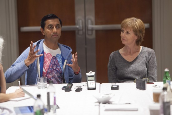 SANJAY'S SUPER TEAM Director Sanjay Patel and Producer Nicole Paradis Grindle attend the The Good Dinosaur Press Day in Los Angeles on November 15, 2015. Photo by Patrick Wymore. ©2015 Disney•Pixar. All Rights Reserved.