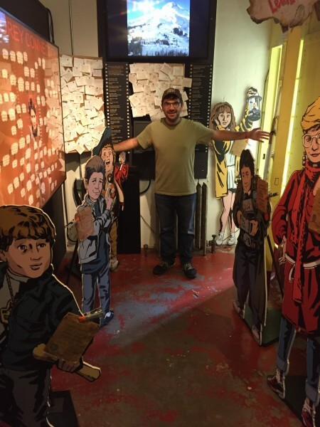Hanging out with the Goonies in the museum.