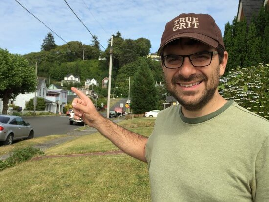 """I'm pointing at the famous Walsh home from """"The Goonies."""""""