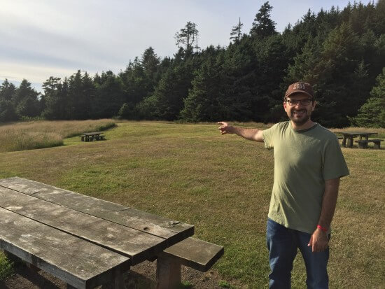 """Pointing at the location of the Lighthouse Lounge Restaurant from """"The Goonies."""""""