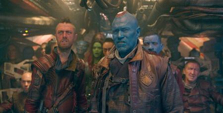 Marvel's Guardians Of The Galaxy L to R: Ravager Crew Member (Sean Gunn) & Yondu (Michael Rooker) Ph: Film Frame ©Marvel 2014