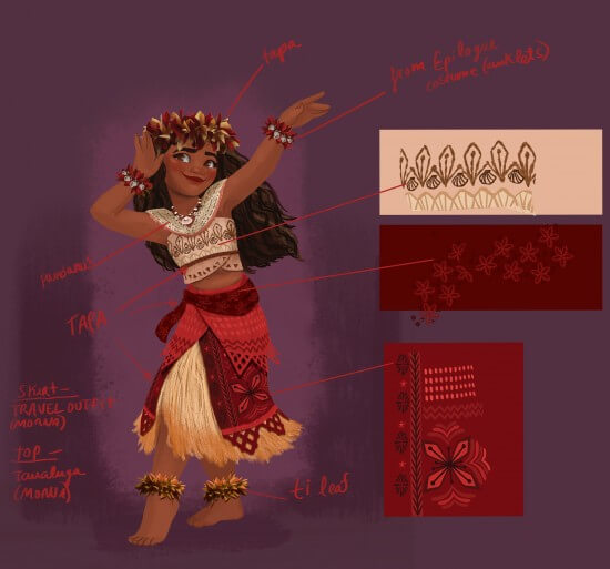 MOANA village costume design. Artist: Neysa Bové, Visual Development Artist.