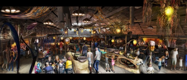 Opening in summer 2017 at Disney's Animal Kingdom, Pandora-The World of Avatar will bring a variety of new experiences to the park, including a family-friendly attraction called NaÕvi River Journey and new food & beverage and merchandise locations. SatuÕli Canteen, (pictured here) will be the main restaurant in Pandora Ð The World of Avatar and will feature NaÕvi art and cultural items. DisneyÕs Animal Kingdom is one of four theme parks at Walt Disney World Resort in Lake Buena Vista, Fla. (David Roark, photographer)