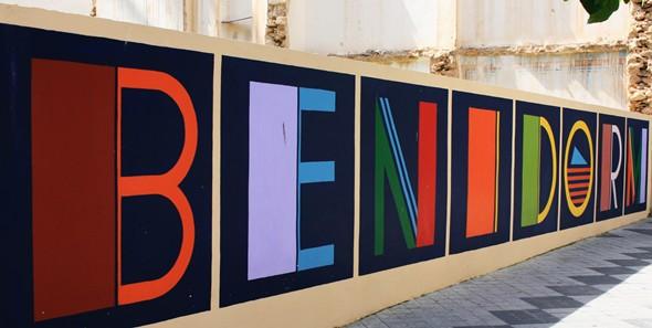 Photo of multicoloured Benidorm Sign