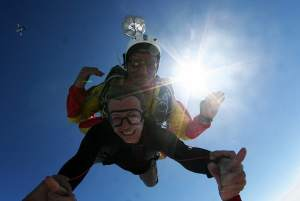 Closeup of tandem freefall in Costa Brava EmpuriaBrava