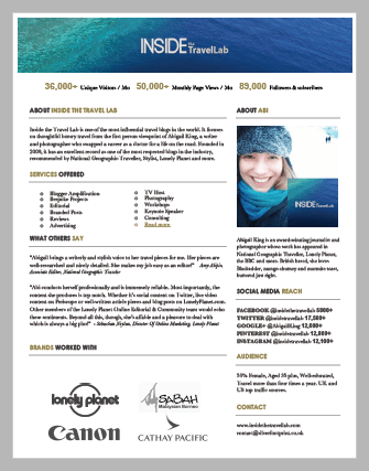 Abigail King Inside the Travel Lab Media Kit Single Page