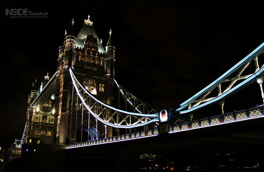 Tower Bridge Hotel Lit Up At Night