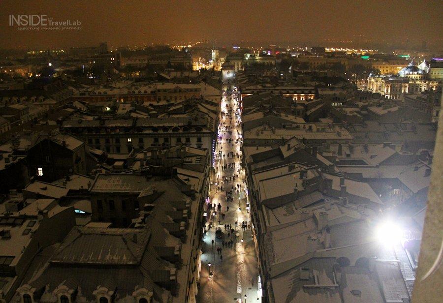 Snowy rooftops in Krakow