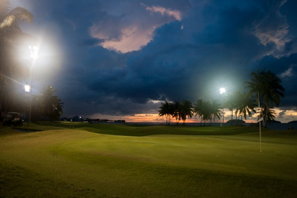 Night Golf in Borneo as the sun sets