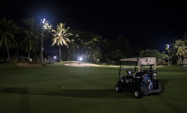 Golf buggy at night in Borneo