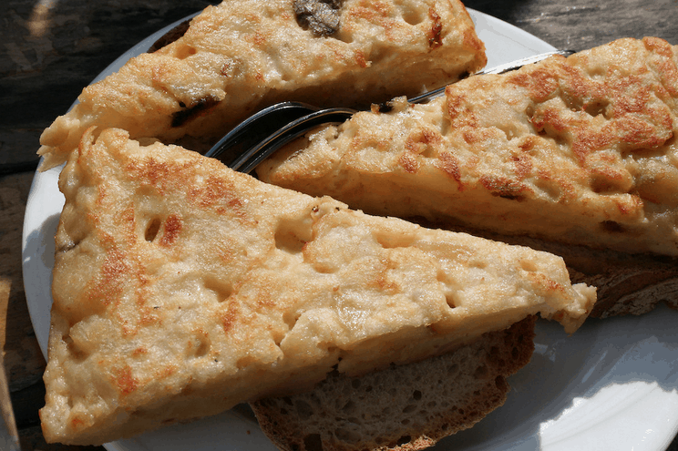 Tortilla on bread in Spain