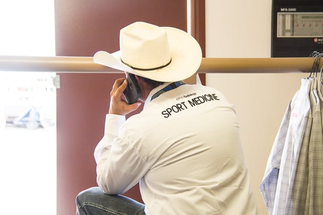 Sports medicine and vets backstage at the Calgary Stampede