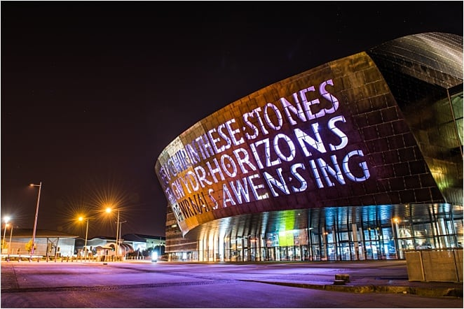 "Seeing the purple-grey slates near the Armadillo during the rain and the glistening words that proclaim ""In These Stones, Horizons Sing,"" is a great unusual thing to do in Cardiff."