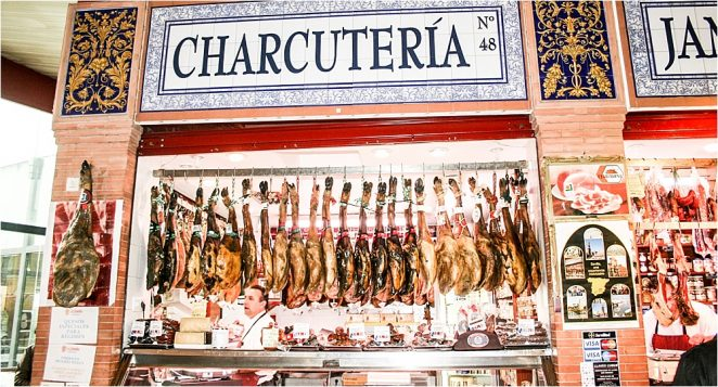 Unusual Seville - charcuterie at Triana Market in Seville Spain