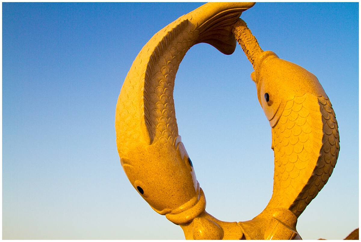 Fish sculpture in the harbour in Oman