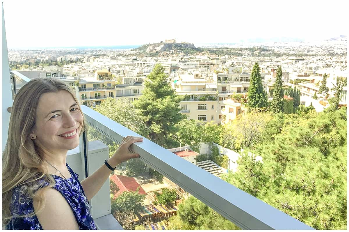 Abigail King at the St George Lycabettus in Athens Greece
