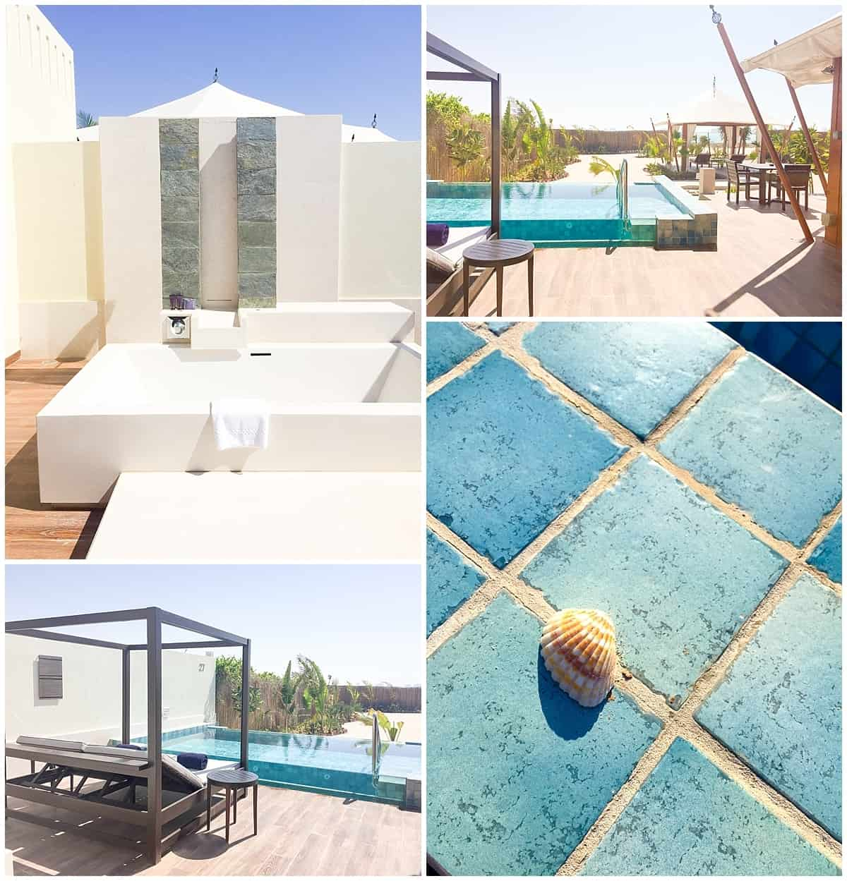 Ritz Carlton Al Hamra Beach Resort-oustide shower and sun loungers in private villa