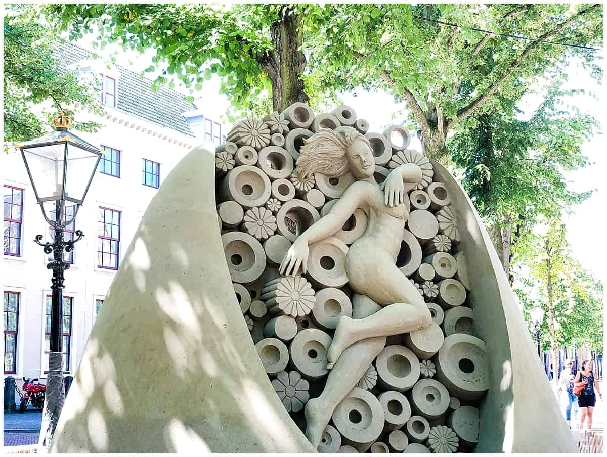 Installation sand art at the Lange Voorhout in the Hague Netherlands
