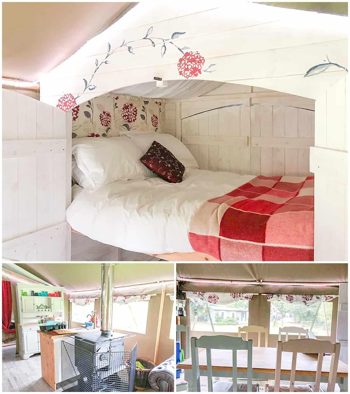 Inside glamping tent at Felin Geri in Wales