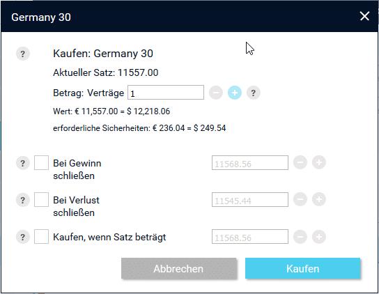 Ordermasket von XTrade