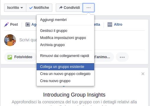 facebook gruppi collegamento tra gruppi