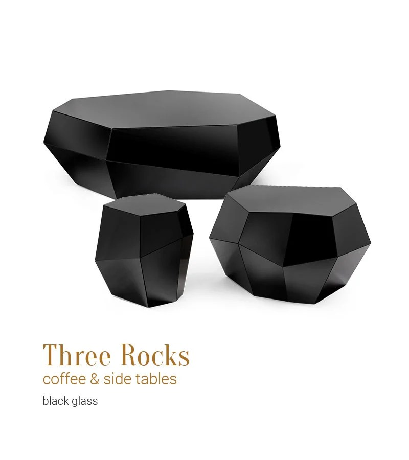 three rocks coffee side tables