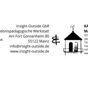 Logos und Adressen von Insight Outside und der kath. Pfarrgemeinde Mainz-Weisenau