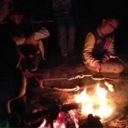Kinder beim Stockbrot grillen am Lagerfeuer