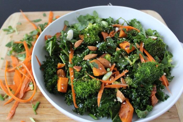Warm Kale, Roasted Broccoli and Sweet Potato Salad with Sesame Vinaigrette